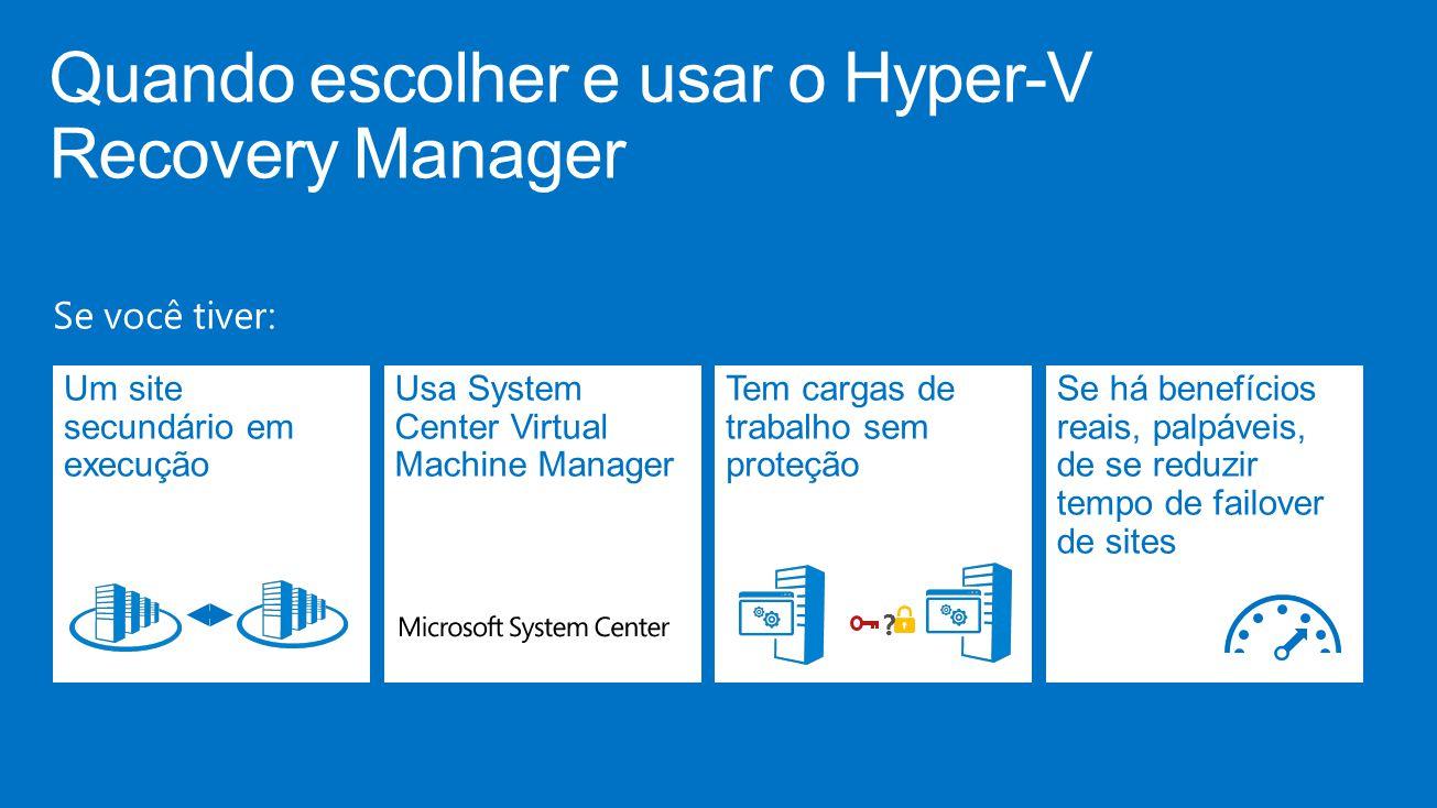 Quando escolher e usar o Hyper-V Recovery Manager Se você tiver: Um site secundário em execução Usa System Center Virtual Machine Manager Tem cargas de trabalho sem proteção .