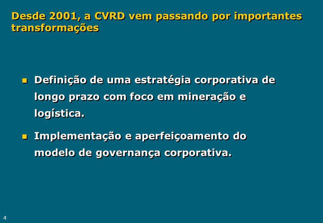 4 n Definição de uma estratégia corporativa de longo prazo com foco em mineração e logística. n Implementação e aperfeiçoamento do modelo de governanç