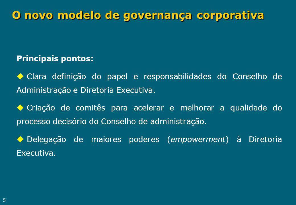5 O novo modelo de governança corporativa Principais pontos: u Clara definição do papel e responsabilidades do Conselho de Administração e Diretoria E