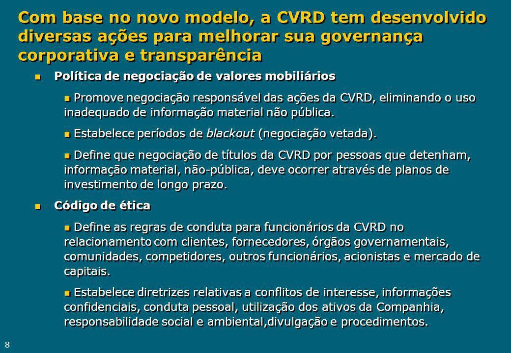 8 n Política de negociação de valores mobiliários n Promove negociação responsável das ações da CVRD, eliminando o uso inadequado de informação material não pública.