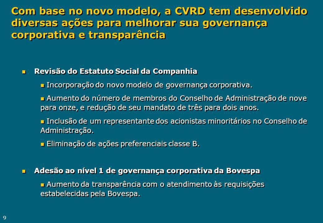 9 n Revisão do Estatuto Social da Companhia n Incorporação do novo modelo de governança corporativa. n Aumento do número de membros do Conselho de Adm