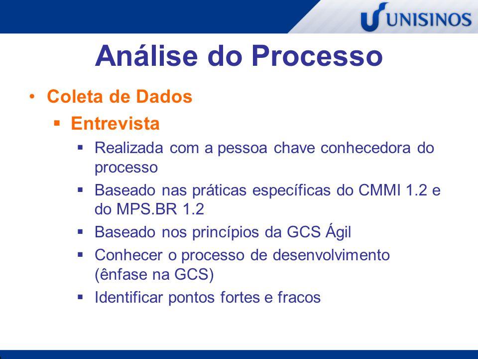 Análise do Processo Coleta de Dados  Questionário  Aplicado no time de desenvolvimento  Lista de práticas de GCS a serem eleitas  Baseado nas práticas específicas do CMMI 1.2 e do MPS.BR 1.2  Baseado nos princípios da GCS Ágil  Identificar as práticas mais importantes na opinião dos usuários do processo