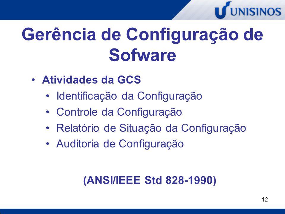 12 Gerência de Configuração de Sofware Atividades da GCS Identificação da Configuração Controle da Configuração Relatório de Situação da Configuração
