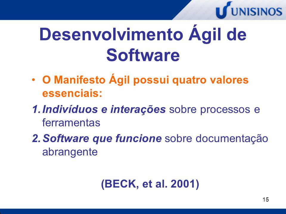 15 Desenvolvimento Ágil de Software O Manifesto Ágil possui quatro valores essenciais: 1.Indivíduos e interações sobre processos e ferramentas 2.Softw