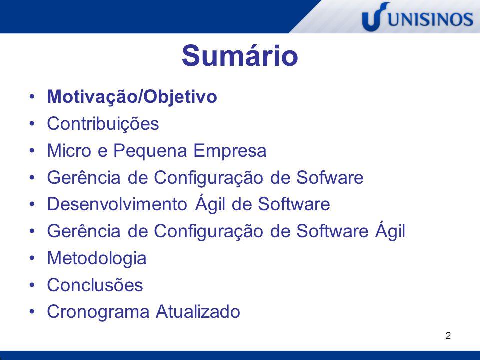 2 Sumário Motivação/Objetivo Contribuições Micro e Pequena Empresa Gerência de Configuração de Sofware Desenvolvimento Ágil de Software Gerência de Co