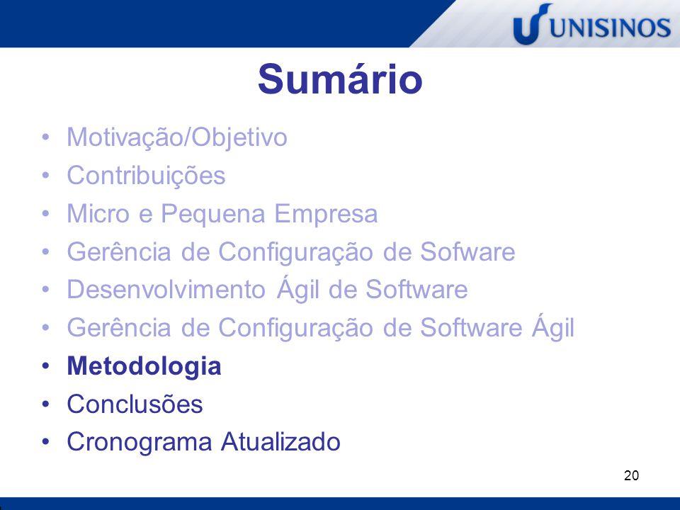 20 Sumário Motivação/Objetivo Contribuições Micro e Pequena Empresa Gerência de Configuração de Sofware Desenvolvimento Ágil de Software Gerência de C