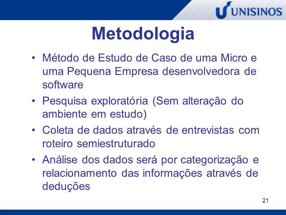 21 Metodologia Método de Estudo de Caso de uma Micro e uma Pequena Empresa desenvolvedora de software Pesquisa exploratória (Sem alteração do ambiente