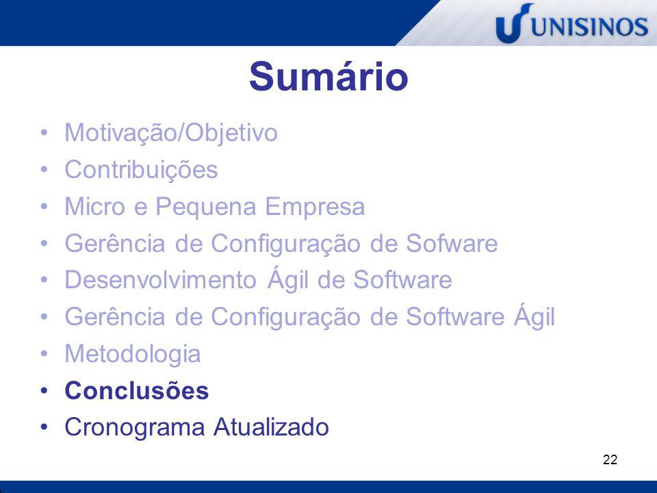 22 Sumário Motivação/Objetivo Contribuições Micro e Pequena Empresa Gerência de Configuração de Sofware Desenvolvimento Ágil de Software Gerência de C