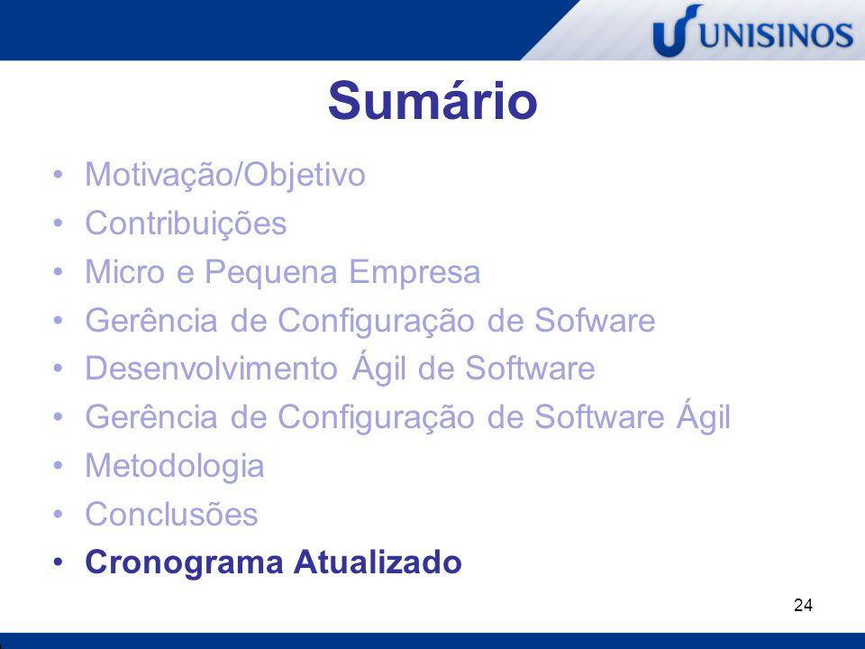 24 Sumário Motivação/Objetivo Contribuições Micro e Pequena Empresa Gerência de Configuração de Sofware Desenvolvimento Ágil de Software Gerência de C
