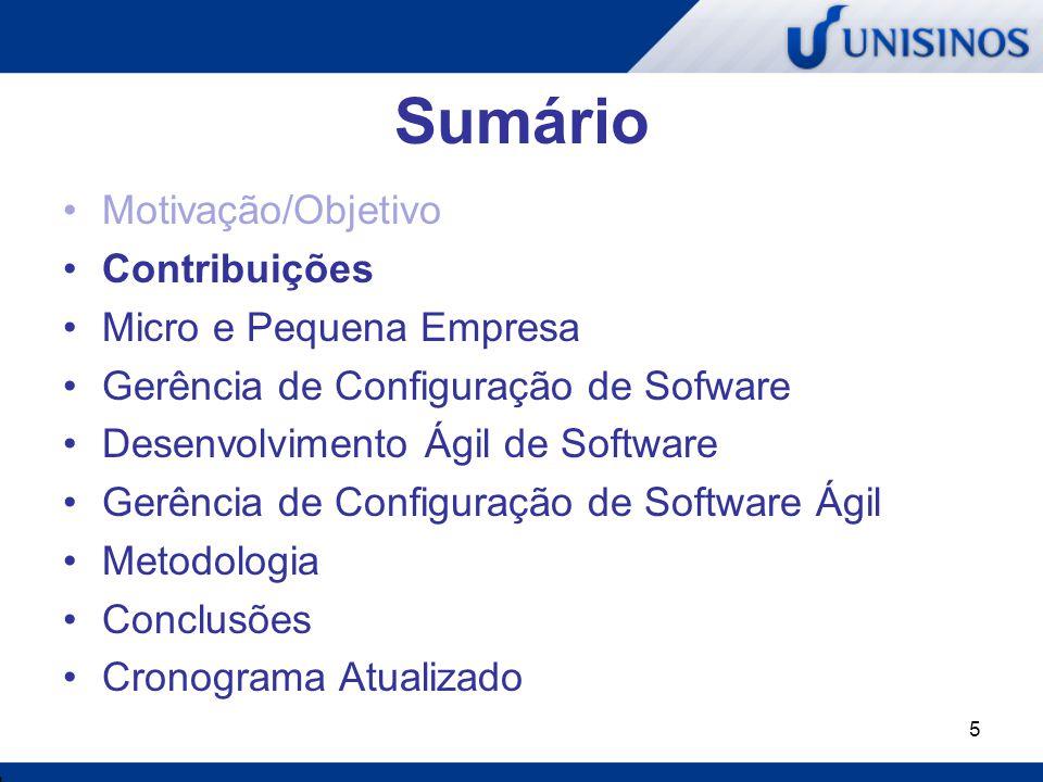 5 Sumário Motivação/Objetivo Contribuições Micro e Pequena Empresa Gerência de Configuração de Sofware Desenvolvimento Ágil de Software Gerência de Co
