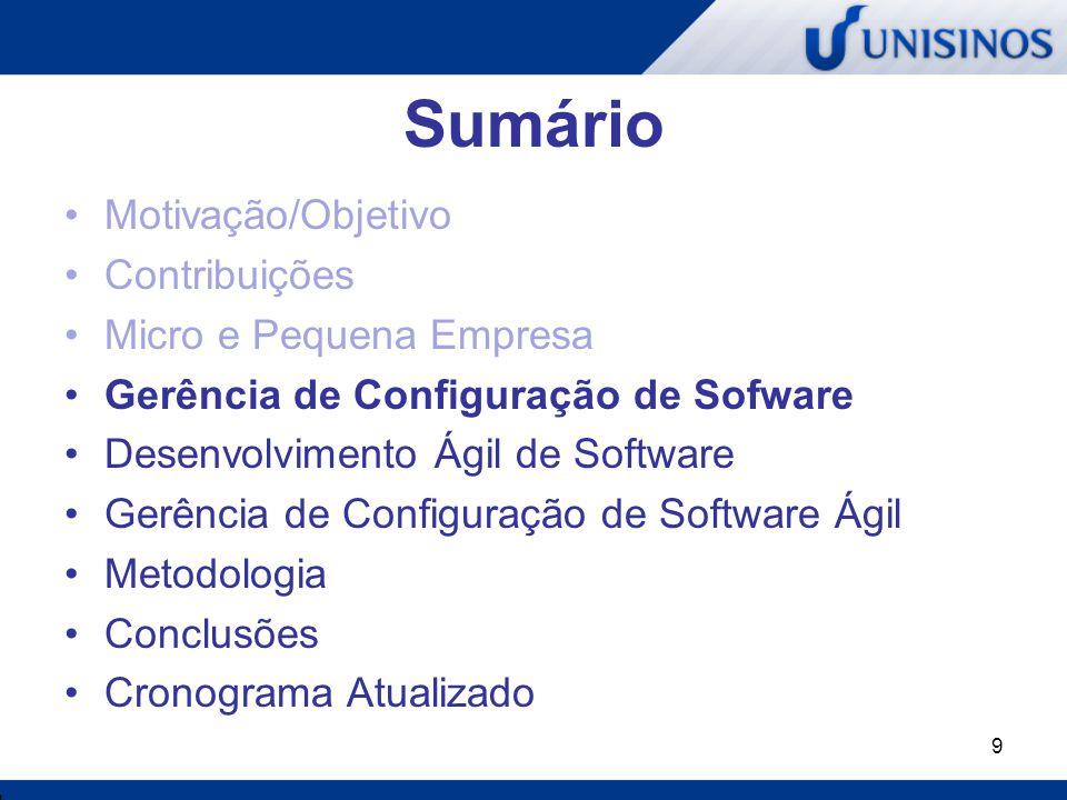 9 Sumário Motivação/Objetivo Contribuições Micro e Pequena Empresa Gerência de Configuração de Sofware Desenvolvimento Ágil de Software Gerência de Co