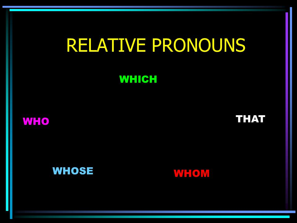 RELATIVE PRONOUNS WHOM WHO WHOSE WHICH THAT
