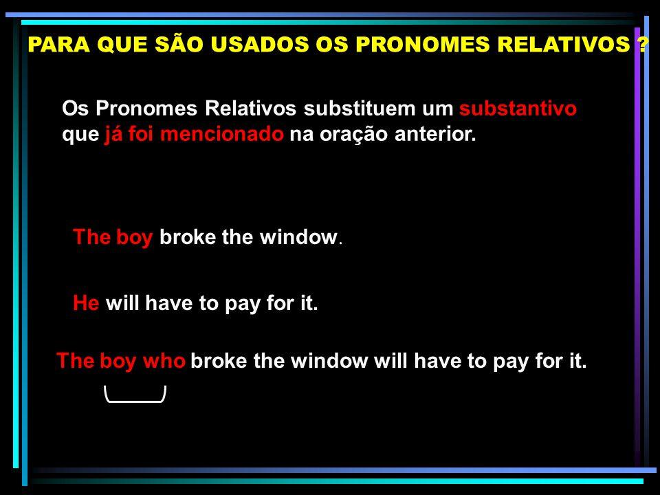 Os Pronomes Relativos substituem um substantivo que já foi mencionado na oração anterior.