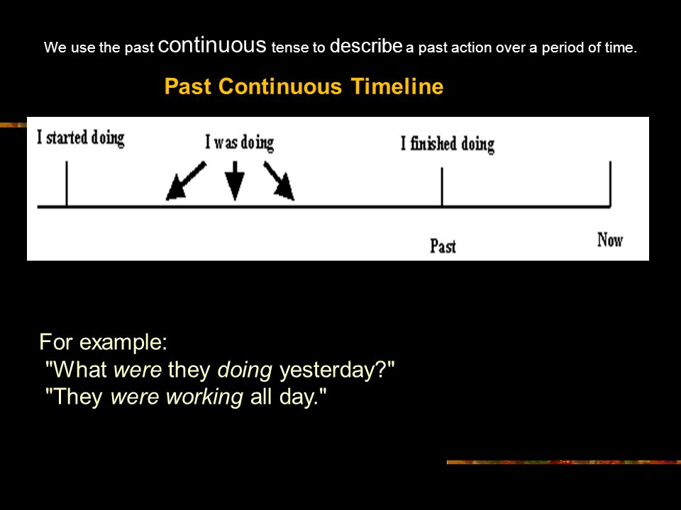 We use the past continuous tense to describe a past action over a period of time. Past Continuous Timeline We use the past continuous tense to describ