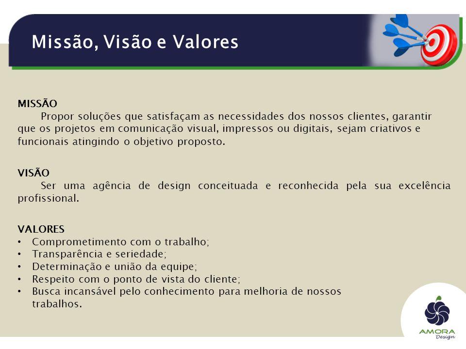 Missão, Visão e Valores VISÃO Ser uma agência de design conceituada e reconhecida pela sua excelência profissional.