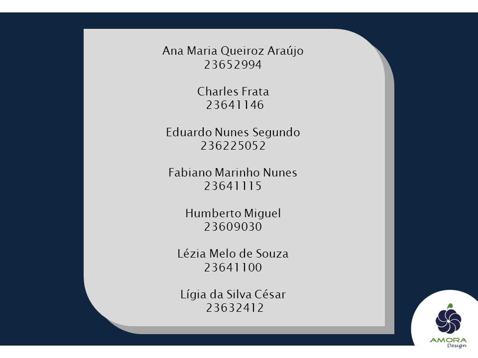 Ana Maria Queiroz Araújo 23652994 Charles Frata 23641146 Eduardo Nunes Segundo 236225052 Fabiano Marinho Nunes 23641115 Humberto Miguel 23609030 Lézia Melo de Souza 23641100 Lígia da Silva César 23632412