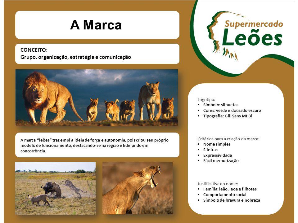 A Marca CONCEITO: Grupo, organização, estratégia e comunicação Logotipo: Símbolo: silhuetas Cores: verde e dourado escuro Tipografia: Gill Sans Mt Bl