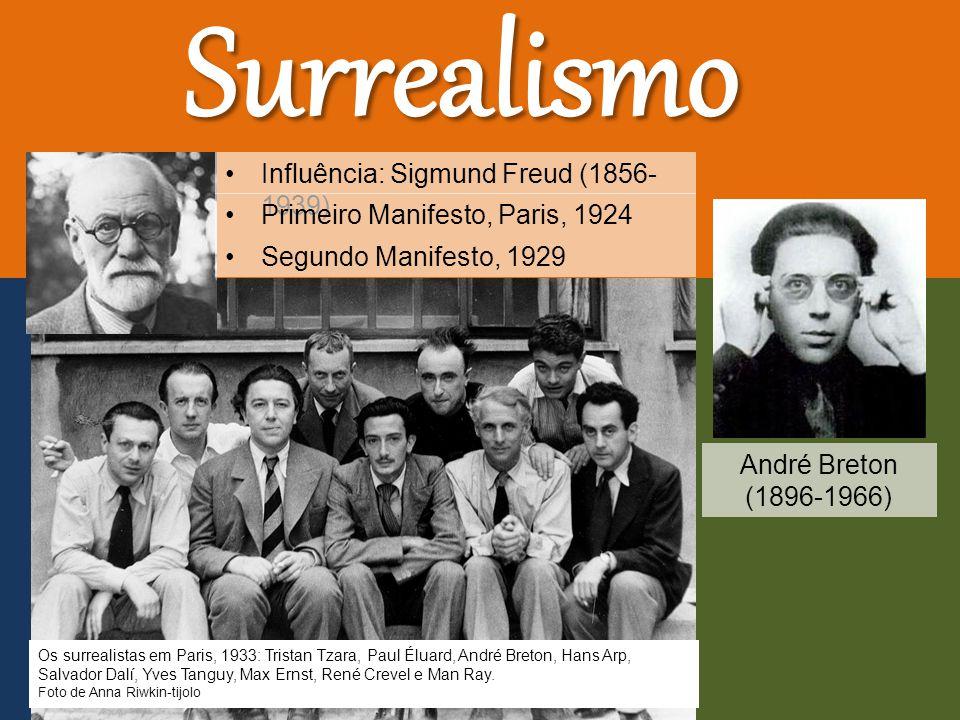 Influência: Sigmund Freud (1856- 1939) Os surrealistas em Paris, 1933: Tristan Tzara, Paul Éluard, André Breton, Hans Arp, Salvador Dalí, Yves Tanguy, Max Ernst, René Crevel e Man Ray.
