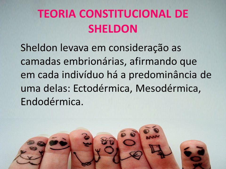 TEORIA CONSTITUCIONAL DE SHELDON Sheldon levava em consideração as camadas embrionárias, afirmando que em cada indivíduo há a predominância de uma delas: Ectodérmica, Mesodérmica, Endodérmica.