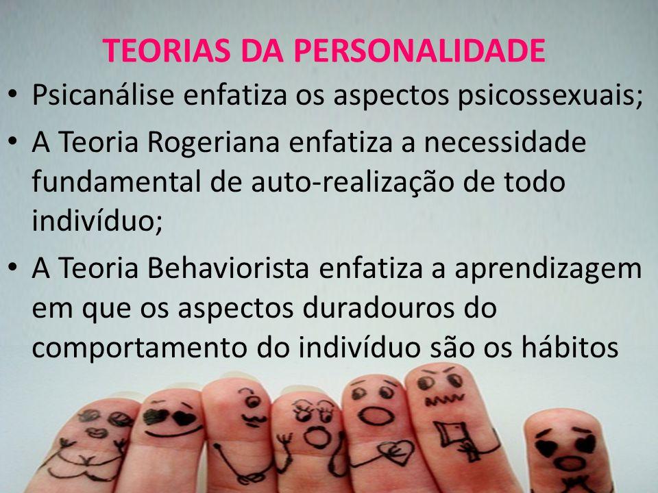 TEORIAS DA PERSONALIDADE Psicanálise enfatiza os aspectos psicossexuais; A Teoria Rogeriana enfatiza a necessidade fundamental de auto-realização de todo indivíduo; A Teoria Behaviorista enfatiza a aprendizagem em que os aspectos duradouros do comportamento do indivíduo são os hábitos