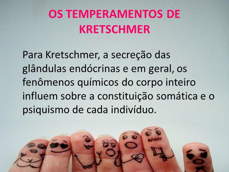 OS TEMPERAMENTOS DE KRETSCHMER Para Kretschmer, a secreção das glândulas endócrinas e em geral, os fenômenos químicos do corpo inteiro influem sobre a constituição somática e o psiquismo de cada indivíduo.