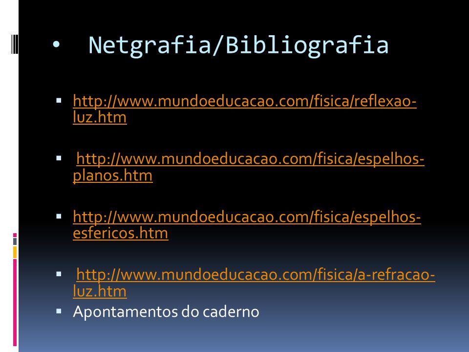 Netgrafia/Bibliografia  http://www.mundoeducacao.com/fisica/reflexao- luz.htm http://www.mundoeducacao.com/fisica/reflexao- luz.htm  http://www.mund