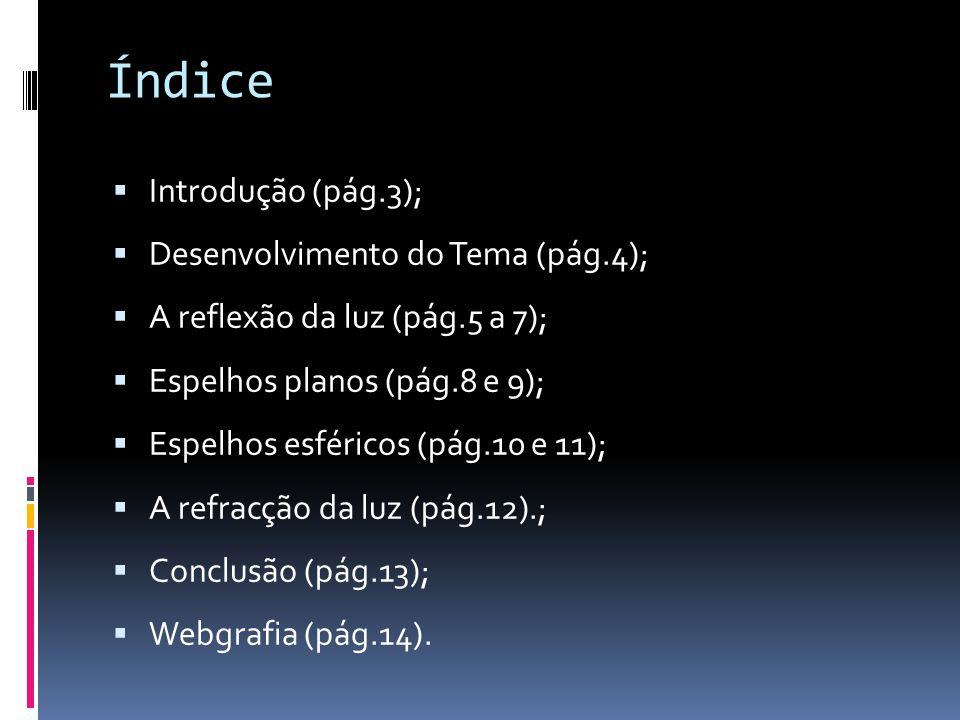 Introdução  Neste trabalho vou abordar vários temas que estão incluídos na Ótica Geométrica.