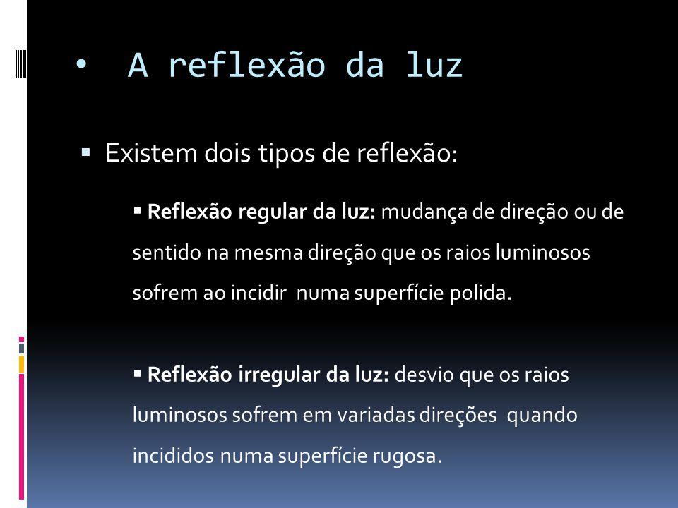 A reflexão da luz  Existem dois tipos de reflexão:  Reflexão regular da luz: mudança de direção ou de sentido na mesma direção que os raios luminoso
