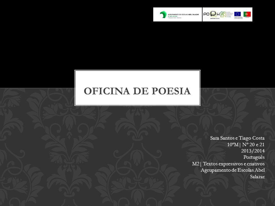 Sara Santos e Tiago Costa 10ºM| Nº 20 e 21 2013/2014 Português M2| Textos expressivos e criativos Agrupamento de Escolas Abel Salazar