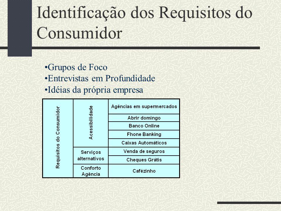 Identificação dos Requisitos do Consumidor Grupos de Foco Entrevistas em Profundidade Idéias da própria empresa