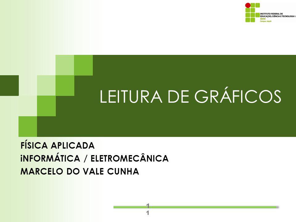 1 1 LEITURA DE GRÁFICOS FÍSICA APLICADA iNFORMÁTICA / ELETROMECÂNICA MARCELO DO VALE CUNHA