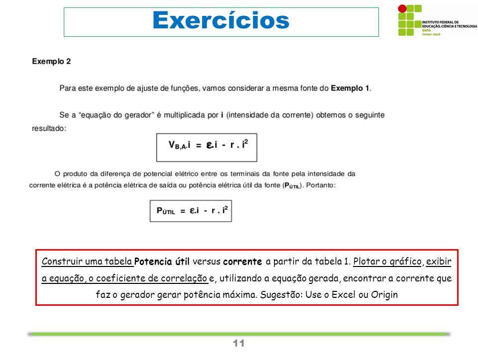 11 Exercícios Construir uma tabela Potencia útil versus corrente a partir da tabela 1.