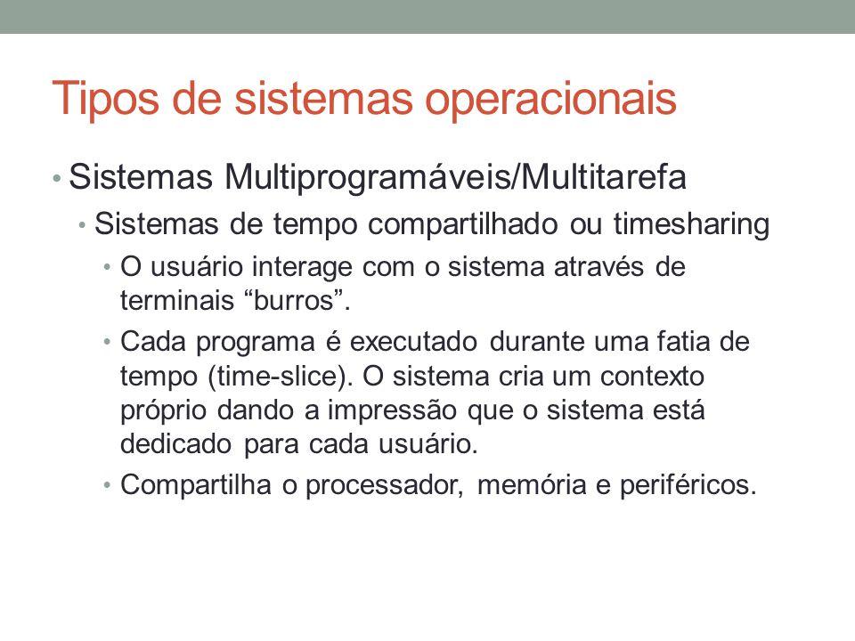 Tipos de sistemas operacionais Sistemas Multiprogramáveis/Multitarefa Sistemas de tempo compartilhado ou timesharing O usuário interage com o sistema