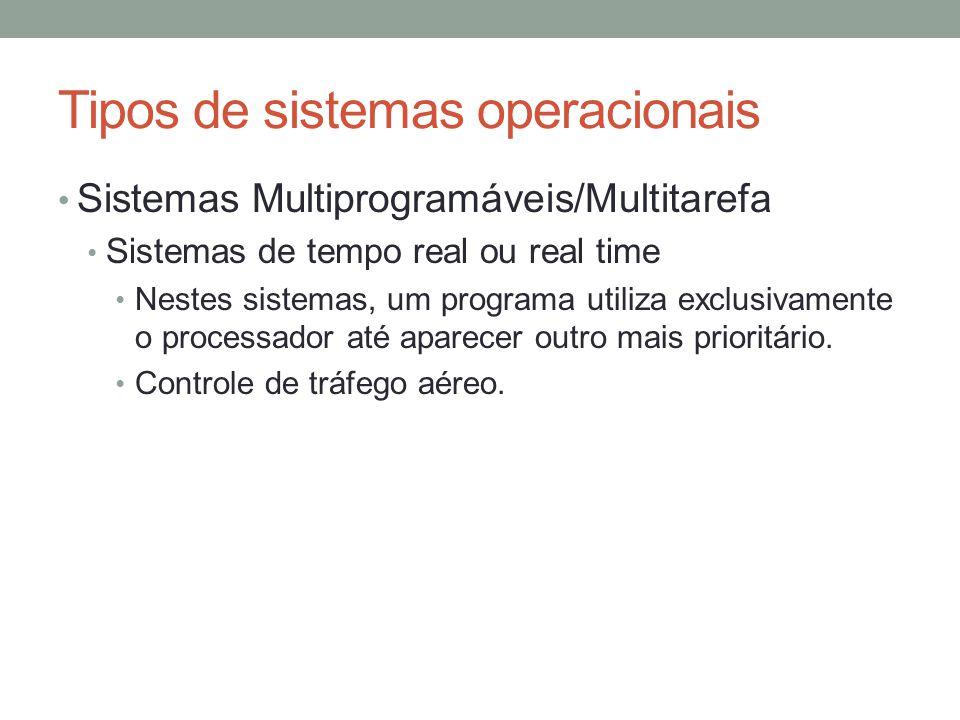 Tipos de sistemas operacionais Sistemas Multiprogramáveis/Multitarefa Sistemas de tempo real ou real time Nestes sistemas, um programa utiliza exclusi
