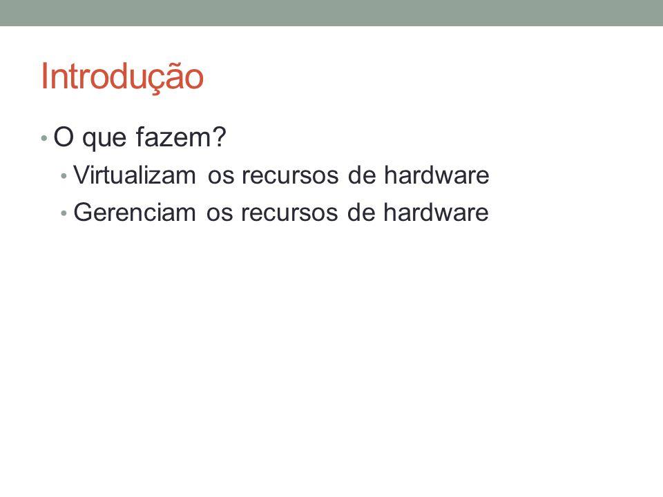 Introdução O que fazem? Virtualizam os recursos de hardware Gerenciam os recursos de hardware