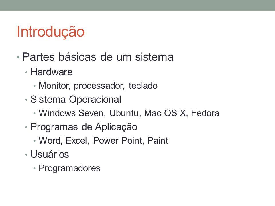 Introdução Partes básicas de um sistema Hardware Monitor, processador, teclado Sistema Operacional Windows Seven, Ubuntu, Mac OS X, Fedora Programas d