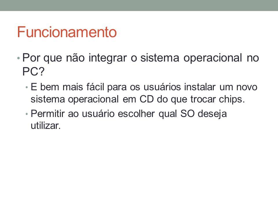Funcionamento Por que não integrar o sistema operacional no PC? E bem mais fácil para os usuários instalar um novo sistema operacional em CD do que tr
