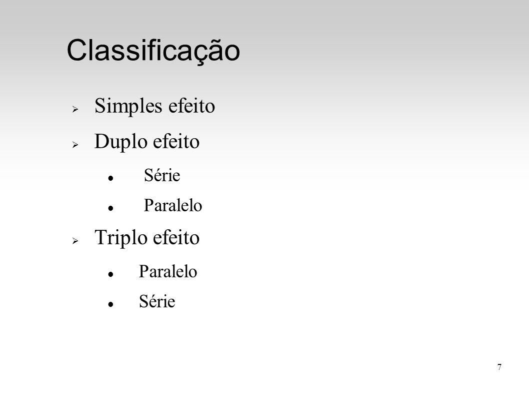 7 Classificação  Simples efeito  Duplo efeito Série Paralelo  Triplo efeito Paralelo Série