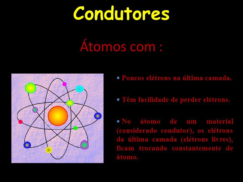 Condutores e isolantes Por outro lado temos que materiais como lã, madeira, vidro, papel e isopor são maus condutores de calor (isolantes térmicos), pois, os elétrons mais externos de seus átomos estão firmemente ligados