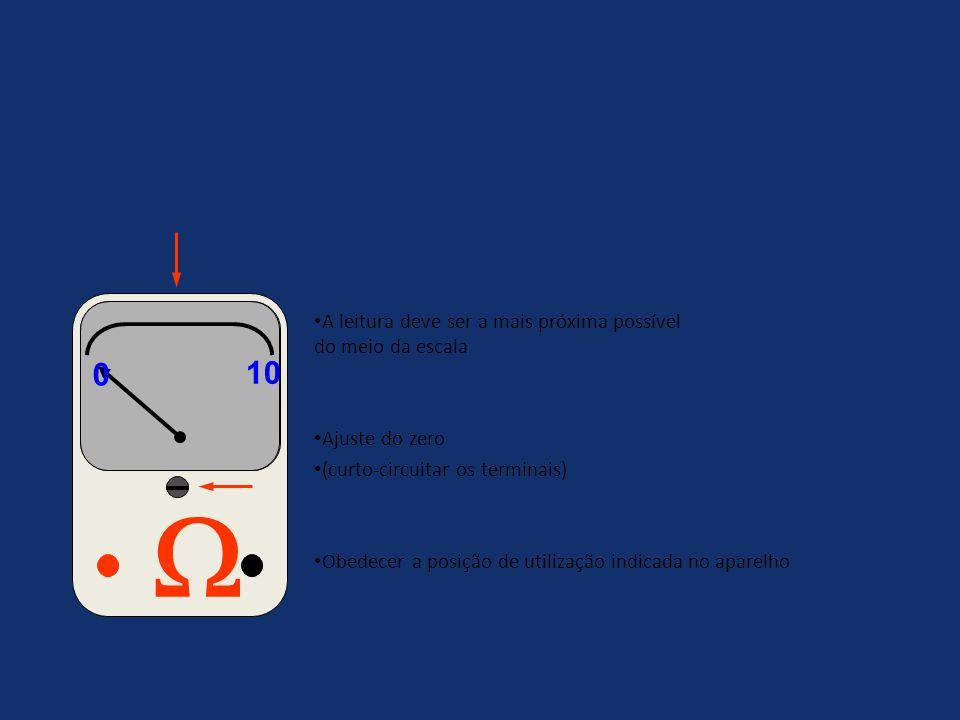 Cuidados na utilização do ohmímetro