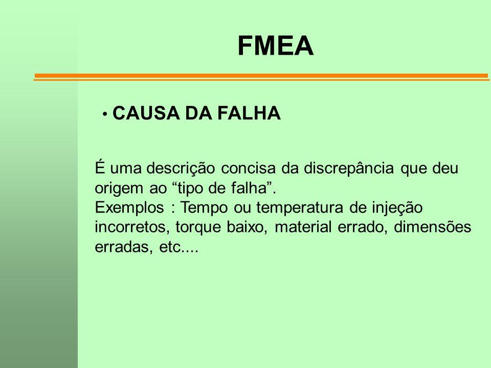 """FMEA CAUSA DA FALHA É uma descrição concisa da discrepância que deu origem ao """"tipo de falha"""". Exemplos : Tempo ou temperatura de injeção incorretos,"""