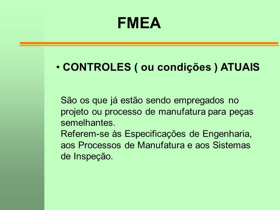 FMEA CONTROLES ( ou condições ) ATUAIS São os que já estão sendo empregados no projeto ou processo de manufatura para peças semelhantes. Referem-se às