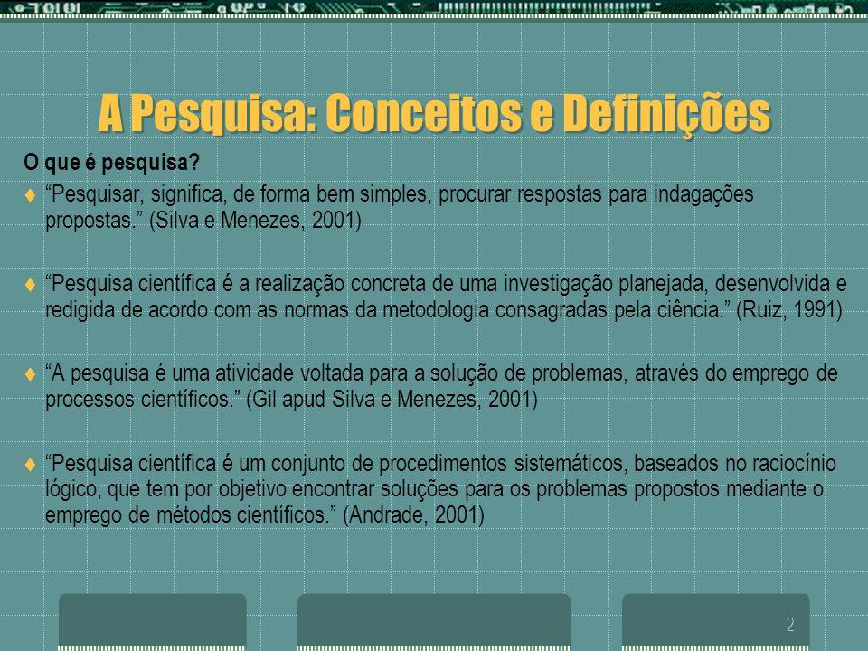 """2 A Pesquisa: Conceitos e Definições O que é pesquisa?  """"Pesquisar, significa, de forma bem simples, procurar respostas para indagações propostas."""" ("""