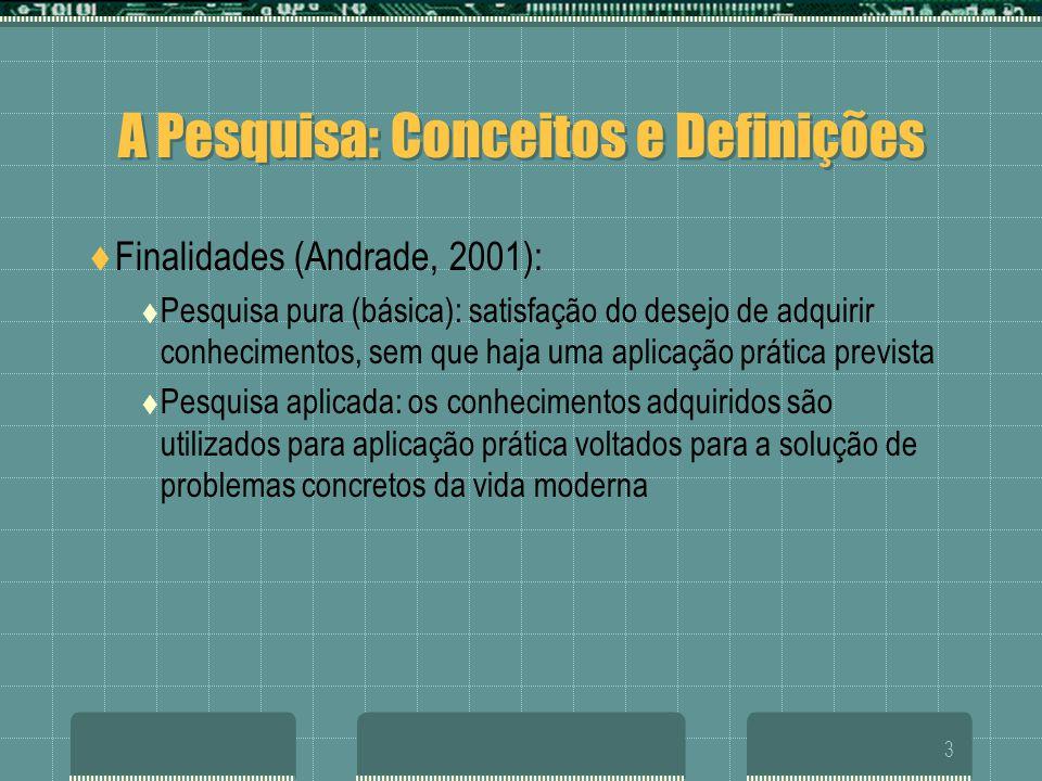 3 A Pesquisa: Conceitos e Definições  Finalidades (Andrade, 2001):  Pesquisa pura (básica): satisfação do desejo de adquirir conhecimentos, sem que