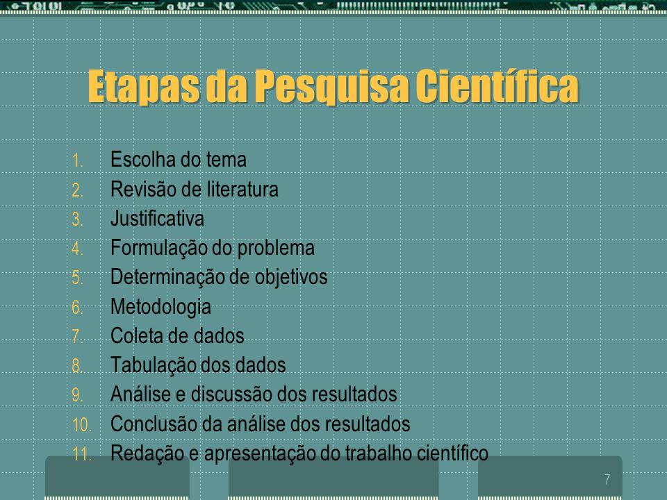 7 Etapas da Pesquisa Científica 1. Escolha do tema 2. Revisão de literatura 3. Justificativa 4. Formulação do problema 5. Determinação de objetivos 6.