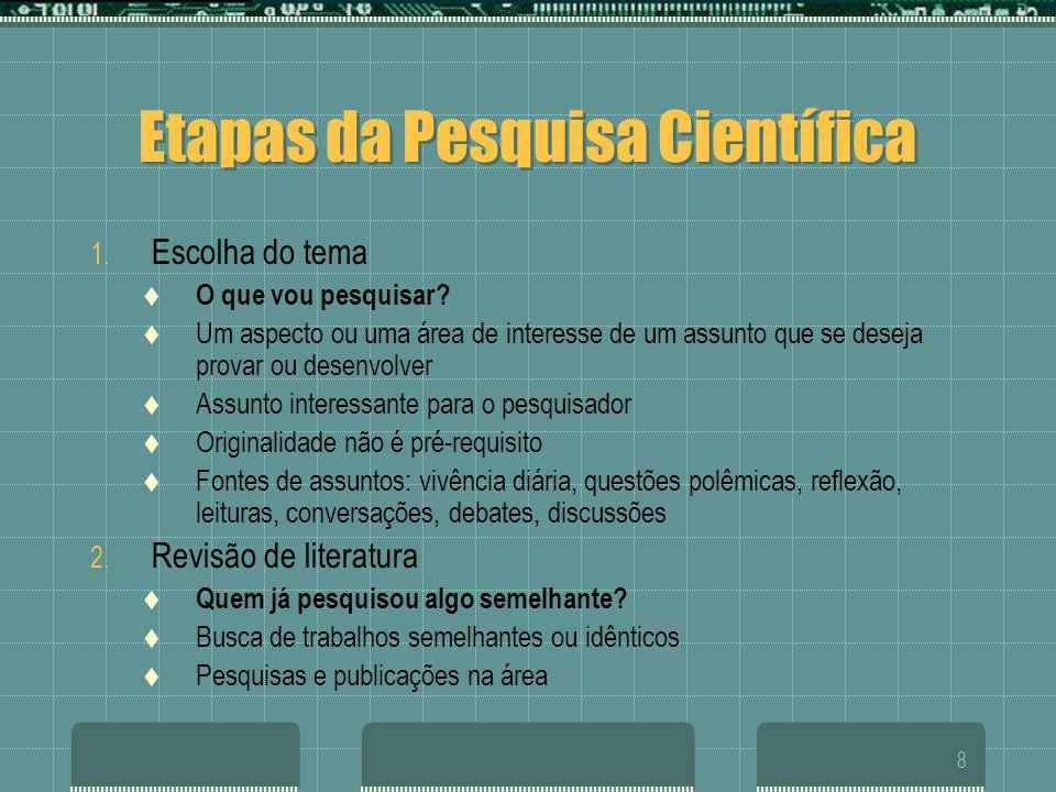 9 Etapas da Pesquisa Científica 3.Justificativa  Por que estudar esse tema.