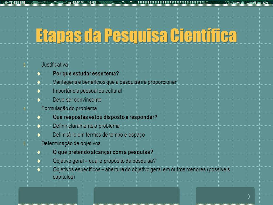 9 Etapas da Pesquisa Científica 3. Justificativa  Por que estudar esse tema?  Vantagens e benefícios que a pesquisa irá proporcionar  Importância p