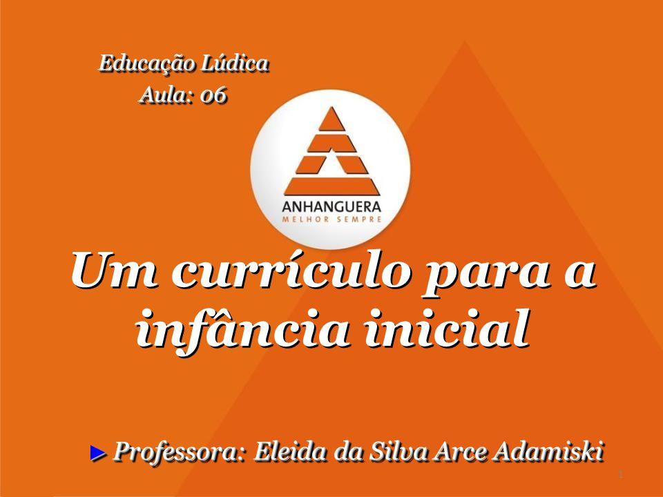 Um currículo para a infância inicial ► Professora: Eleida da Silva Arce Adamiski Educação Lúdica Aula: 06 Educação Lúdica Aula: 06 1