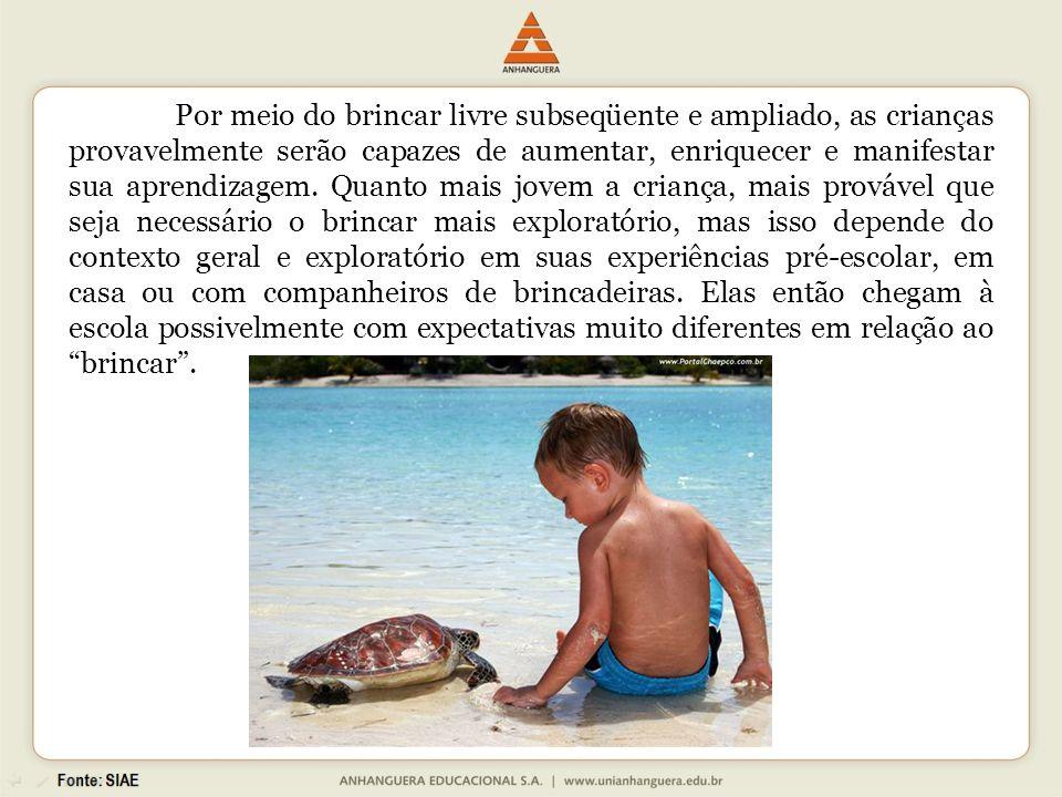 Por meio do brincar livre subseqüente e ampliado, as crianças provavelmente serão capazes de aumentar, enriquecer e manifestar sua aprendizagem.