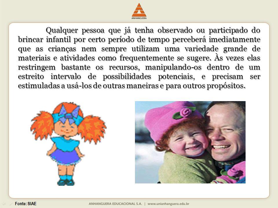 Qualquer pessoa que já tenha observado ou participado do brincar infantil por certo período de tempo perceberá imediatamente que as crianças nem sempr